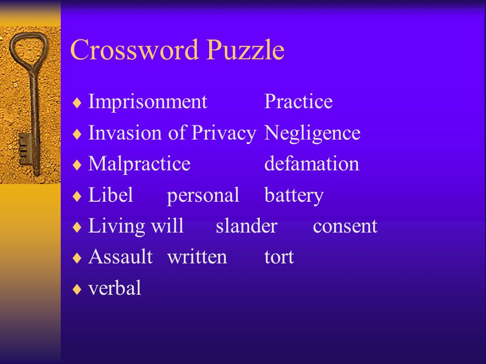 Crossword Puzzle Imprisonment Practice Invasion of Privacy Negligence