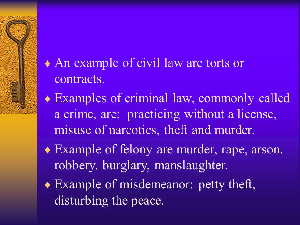 An example of civil law are torts or contracts.