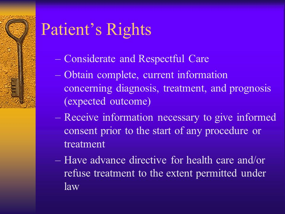 Patient's Rights Considerate and Respectful Care