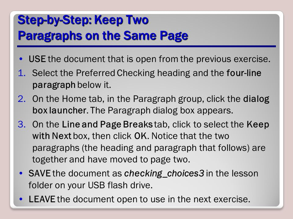 Step-by-Step: Keep Two Paragraphs on the Same Page