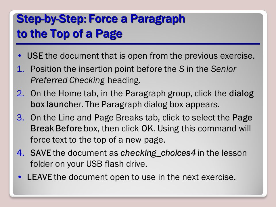 Step-by-Step: Force a Paragraph to the Top of a Page