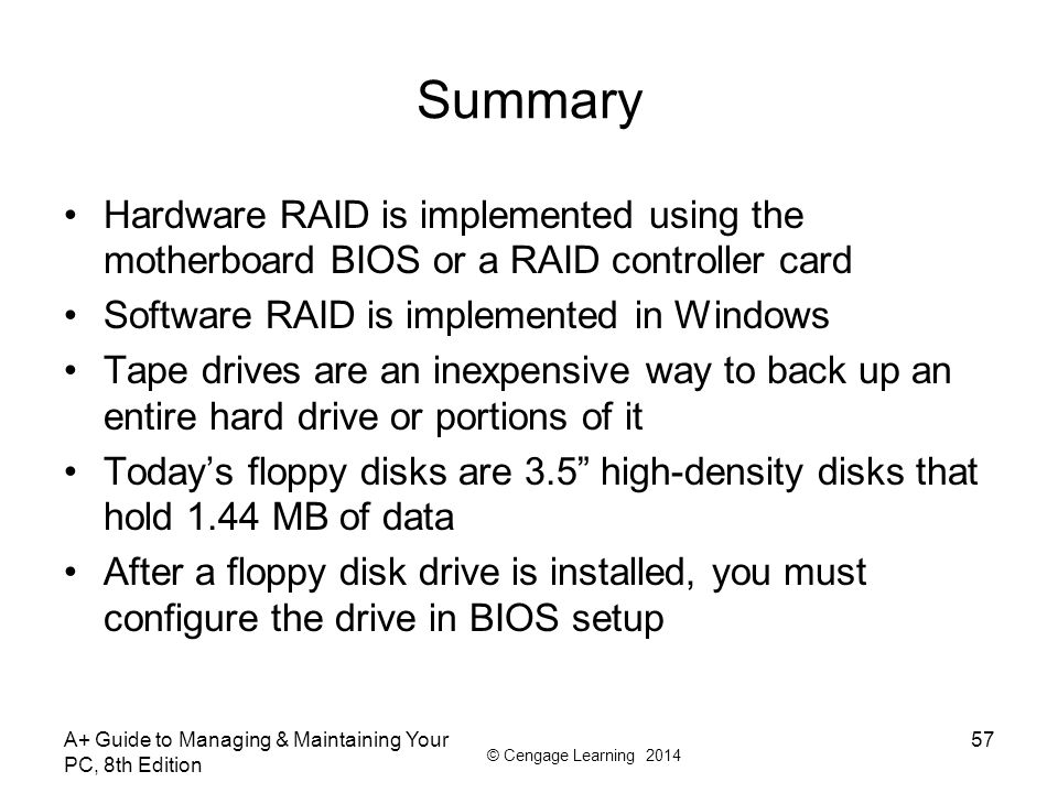 Summary Hardware RAID is implemented using the motherboard BIOS or a RAID controller card. Software RAID is implemented in Windows.