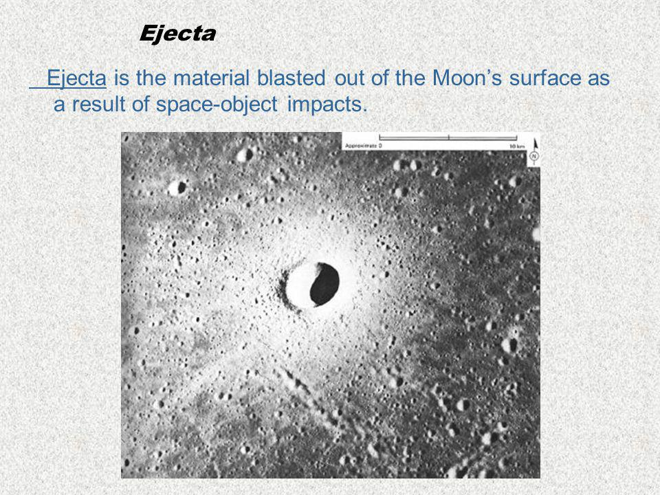 Ejecta Ejecta is the material blasted out of the Moon's surface as a result of space-object impacts.