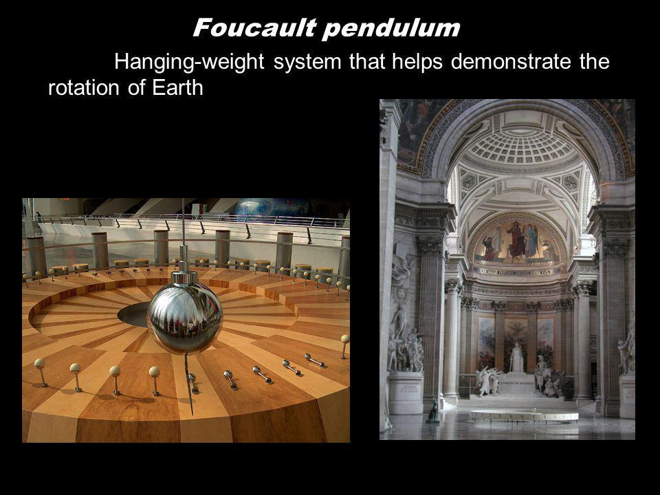 Foucault pendulum Hanging-weight system that helps demonstrate the rotation of Earth