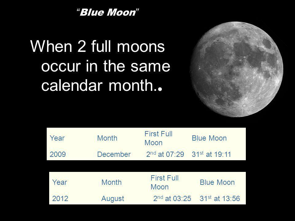 When 2 full moons occur in the same calendar month..