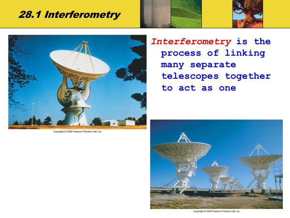 28.1 Interferometry Interferometry is the process of linking many separate telescopes together to act as one.