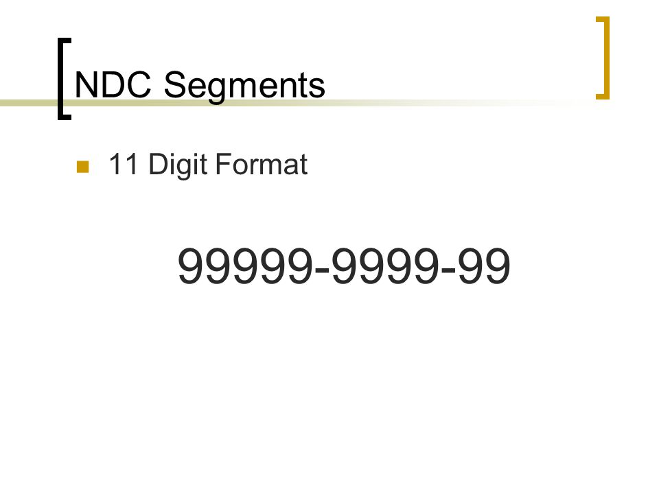 NDC Segments 11 Digit Format 99999-9999-99