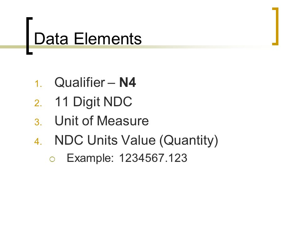 Data Elements Qualifier – N4 11 Digit NDC Unit of Measure