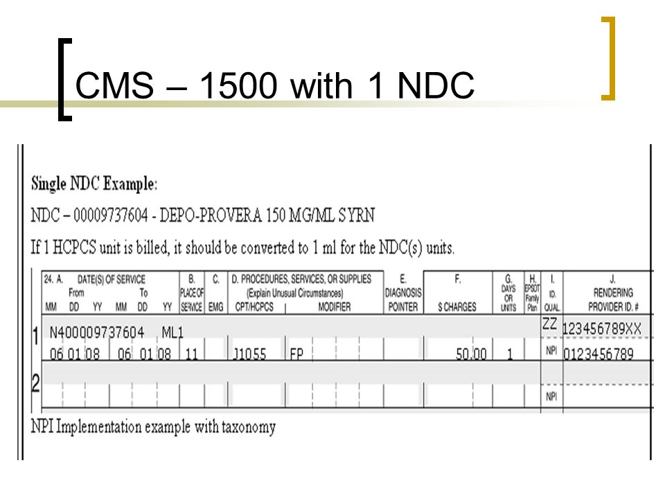 CMS – 1500 with 1 NDC The CMS 1500 utilizes the shaded area of Line 24