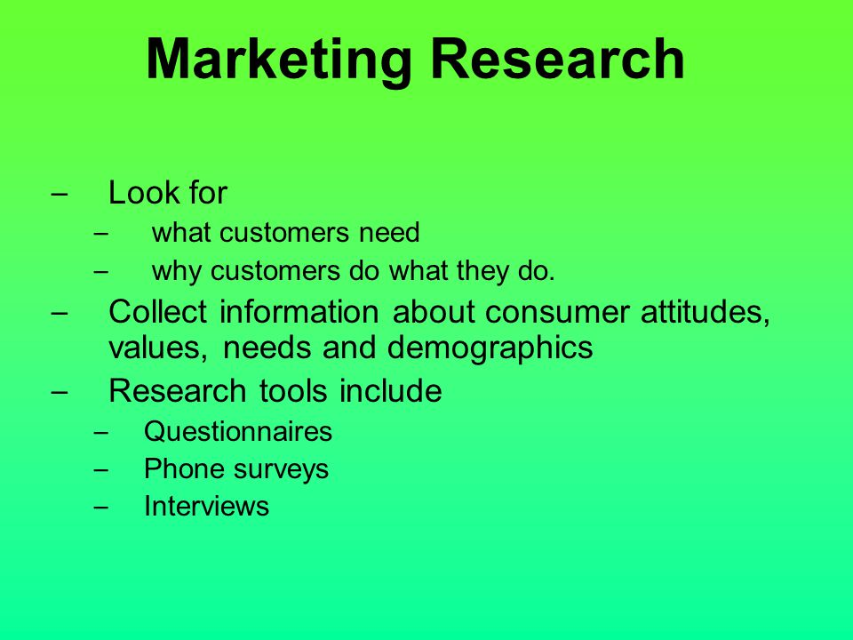 Marketing Research Look for