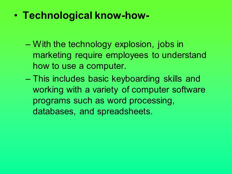 Technological know-how-