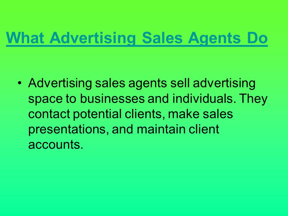 What Advertising Sales Agents Do