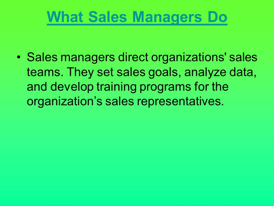 What Sales Managers Do