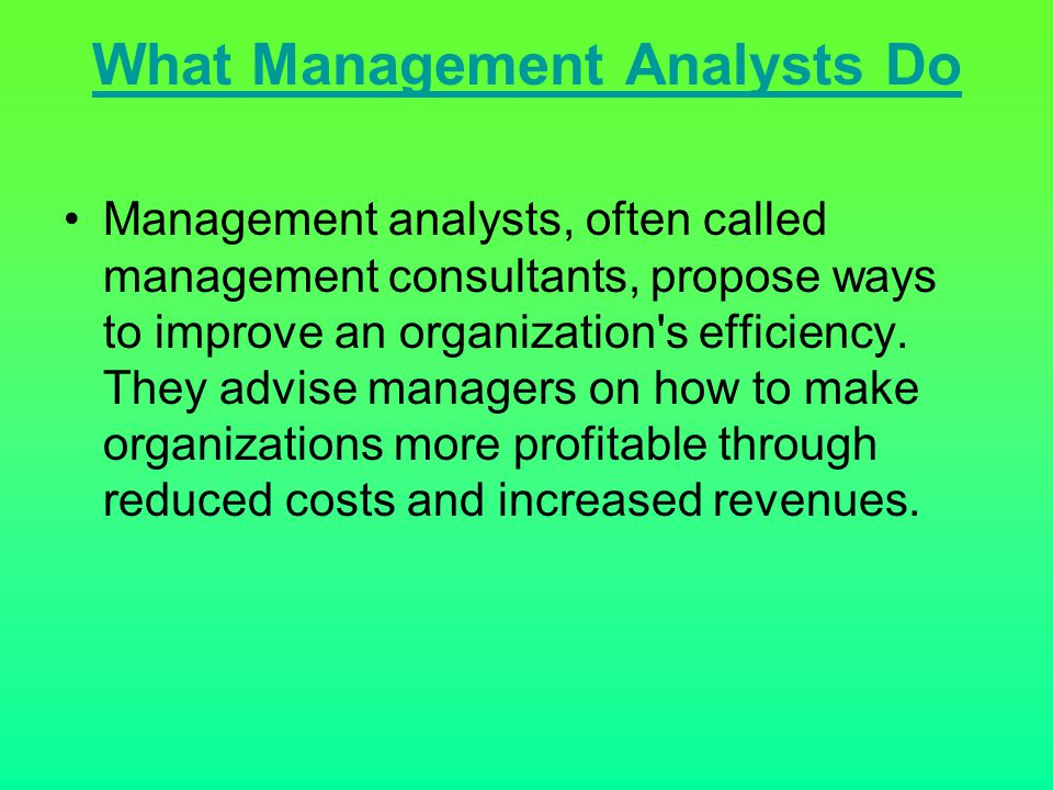 What Management Analysts Do
