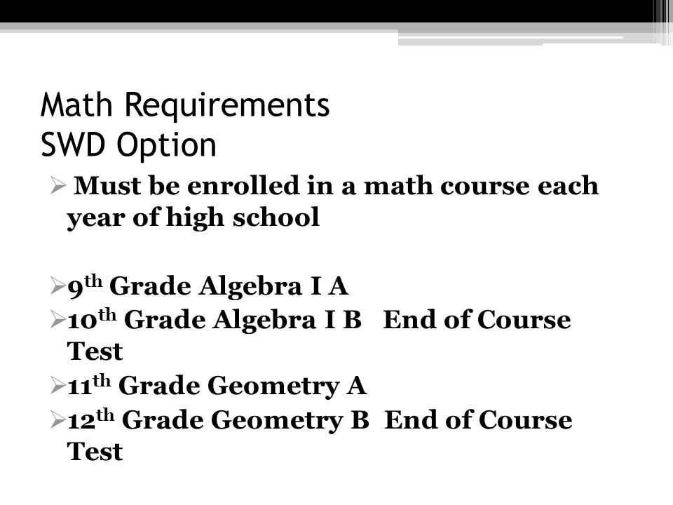 Math Requirements SWD Option