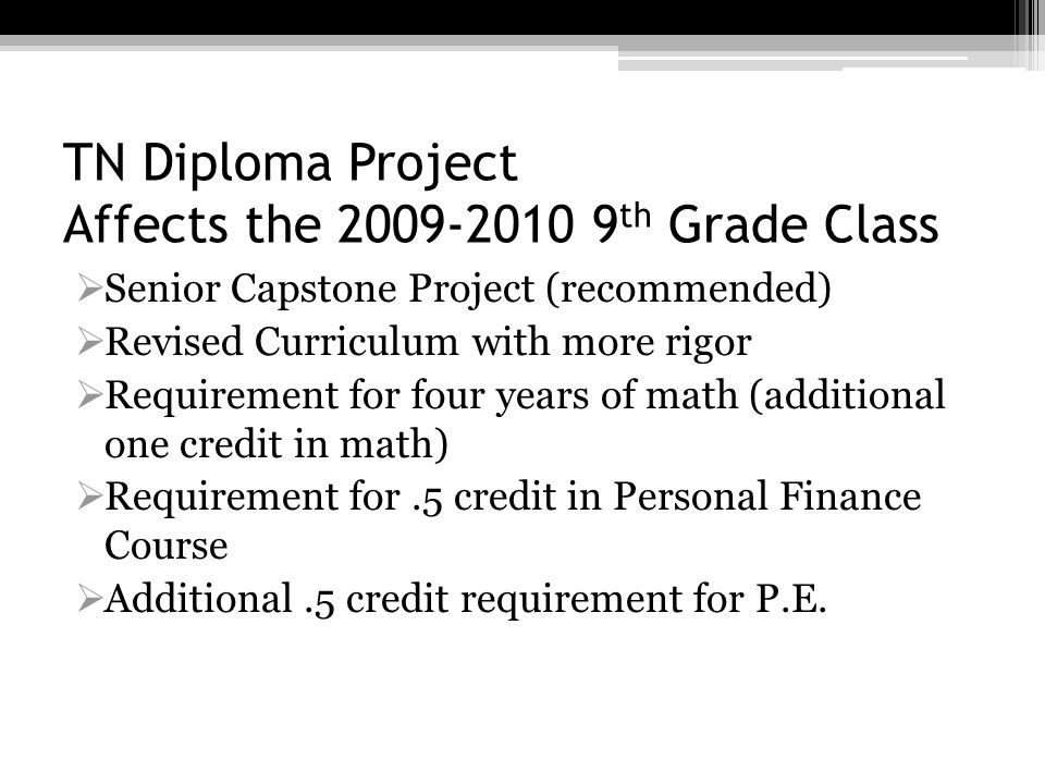 TN Diploma Project Affects the 2009-2010 9th Grade Class