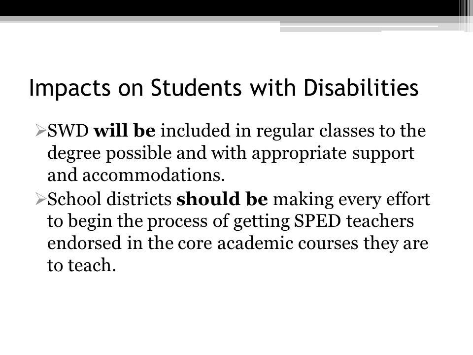 Impacts on Students with Disabilities