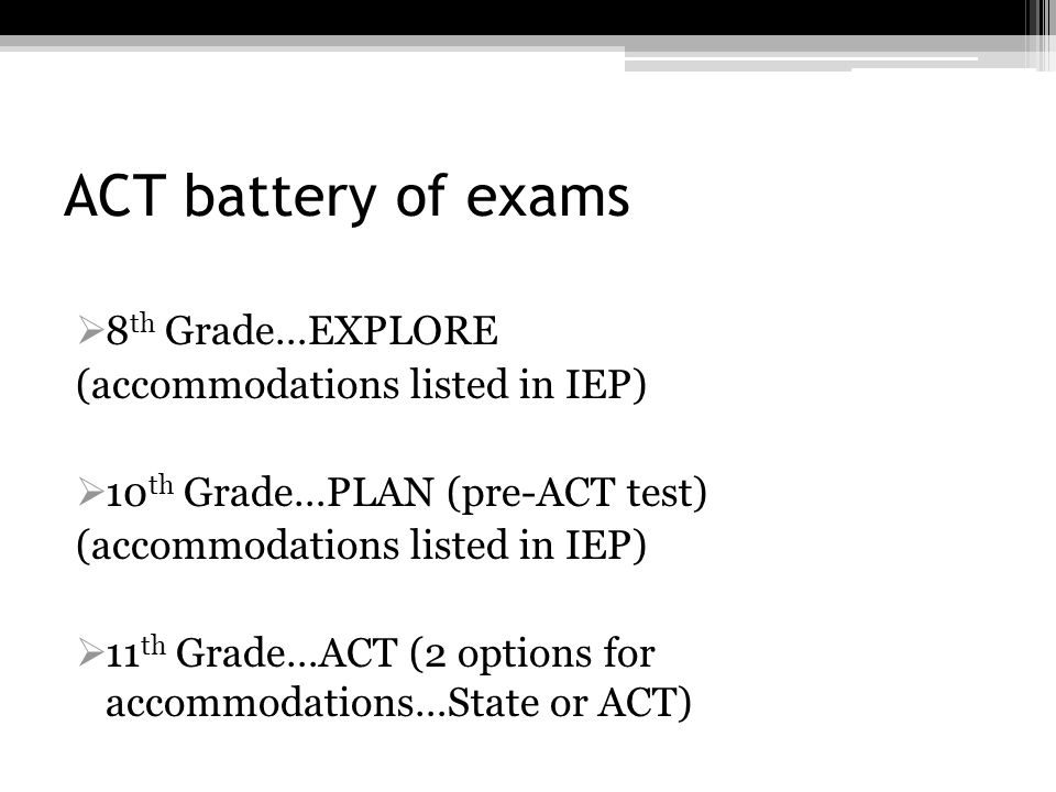 ACT battery of exams 8th Grade…EXPLORE (accommodations listed in IEP)