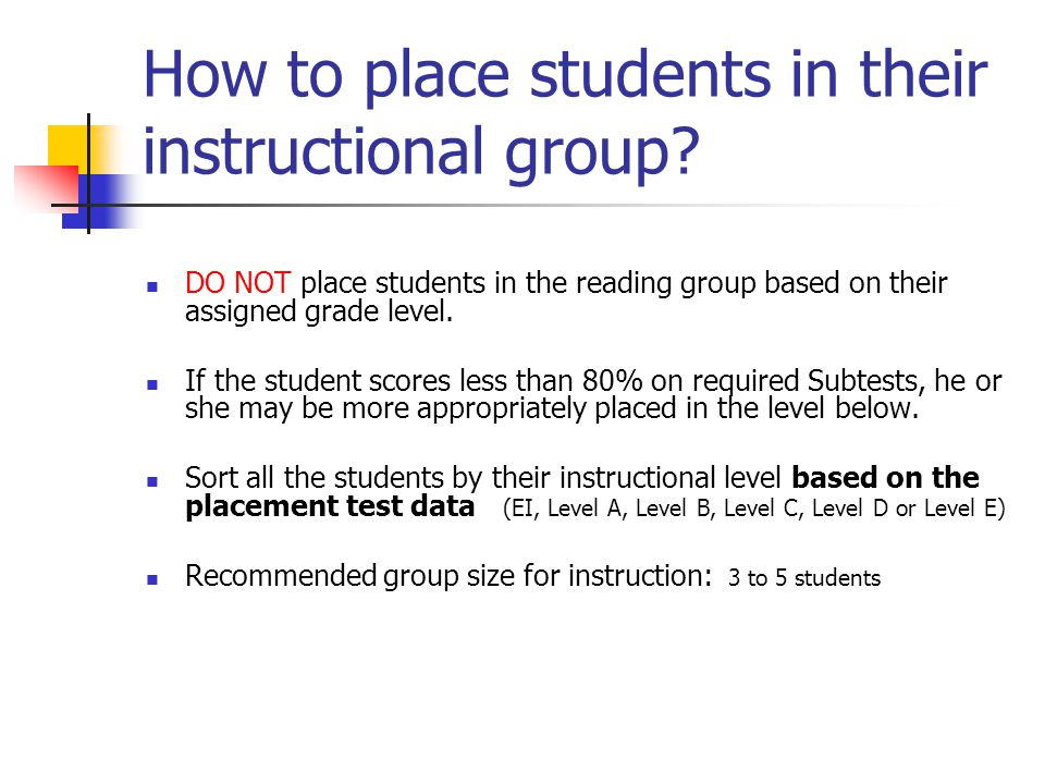 How to place students in their instructional group