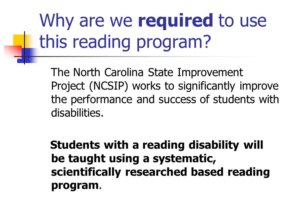 Why are we required to use this reading program