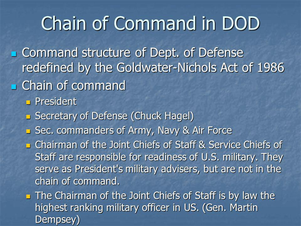Chain of Command in DOD Command structure of Dept. of Defense redefined by the Goldwater-Nichols Act of 1986.