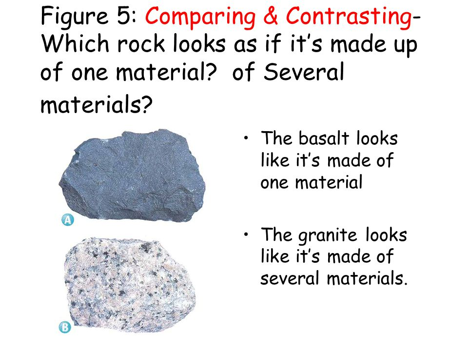 Figure 5: Comparing & Contrasting-Which rock looks as if it's made up of one material of Several materials