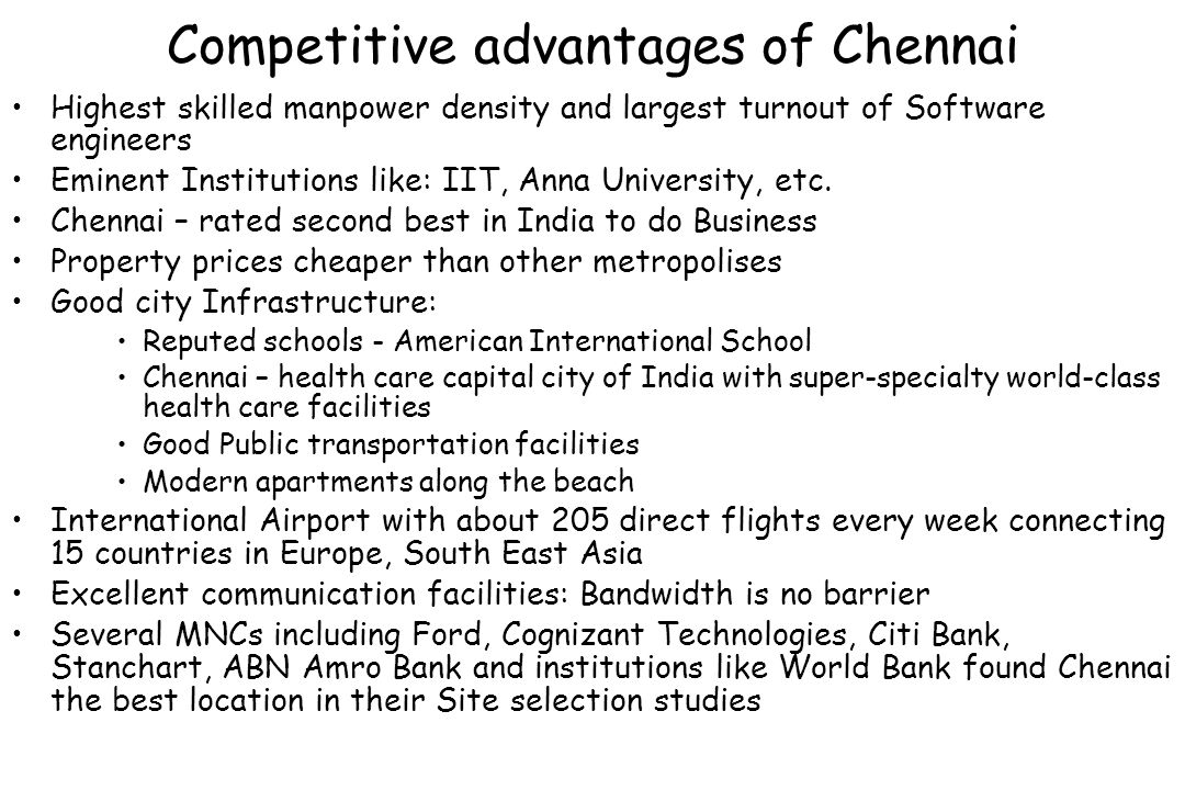 Competitive advantages of Chennai