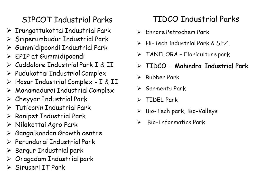 SIPCOT Industrial Parks TIDCO Industrial Parks
