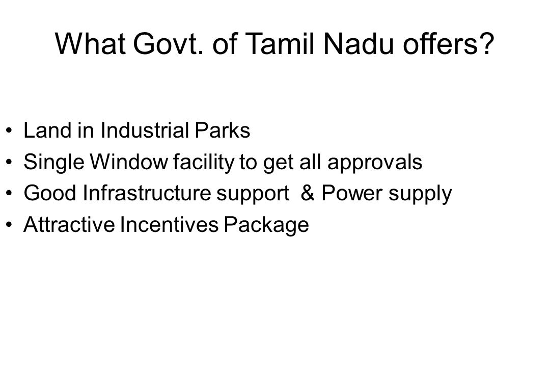 What Govt. of Tamil Nadu offers