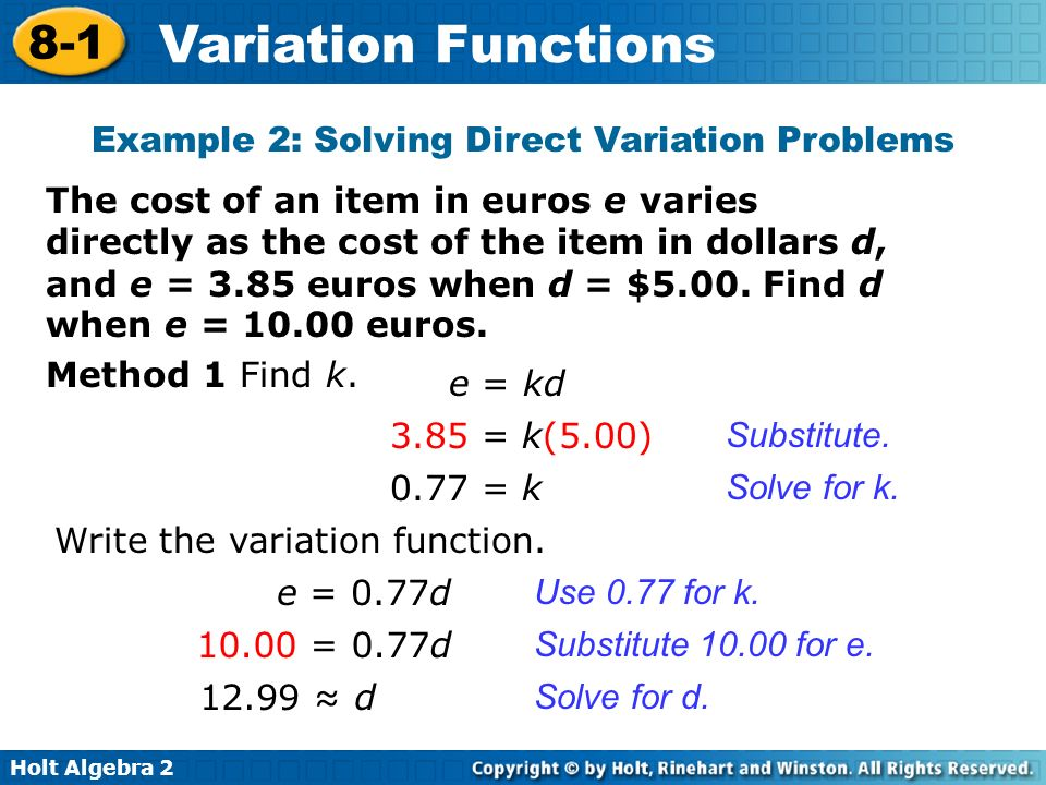 Example 2: Solving Direct Variation Problems