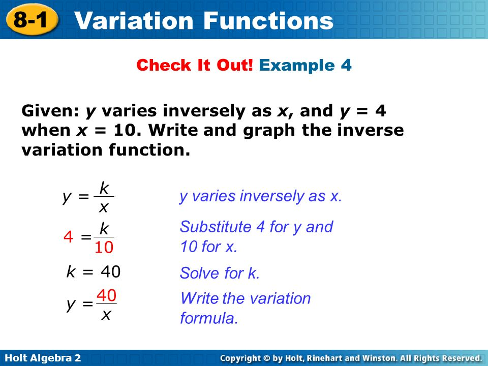 Check It Out! Example 4 Given: y varies inversely as x, and y = 4 when x = 10. Write and graph the inverse variation function.