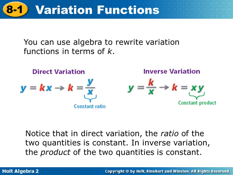 You can use algebra to rewrite variation functions in terms of k.