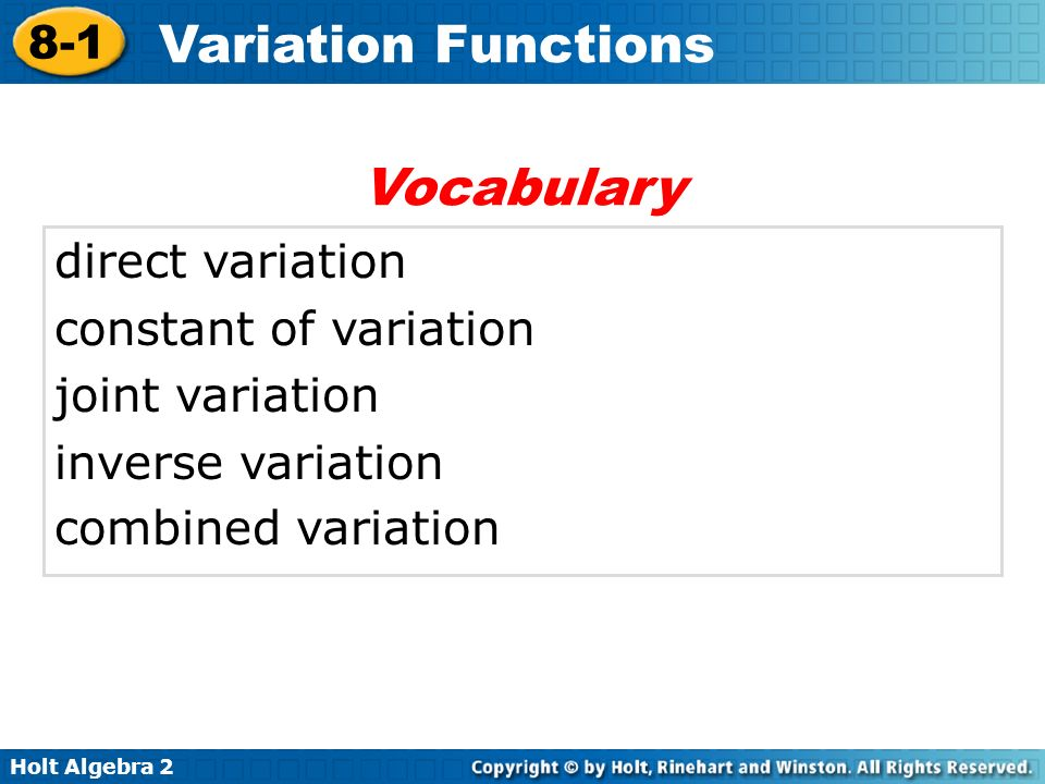 Vocabulary direct variation constant of variation joint variation
