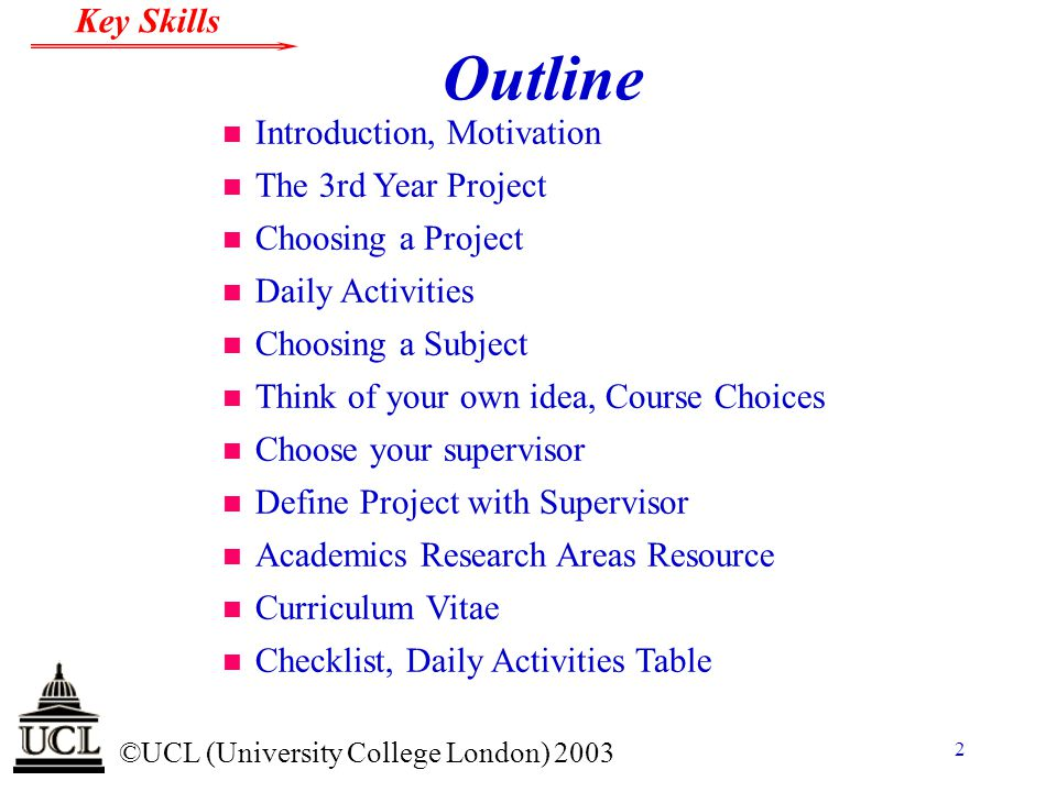 Outline Introduction, Motivation The 3rd Year Project