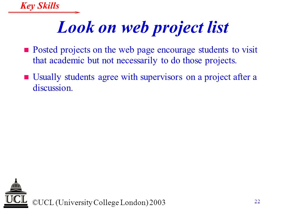 Look on web project list