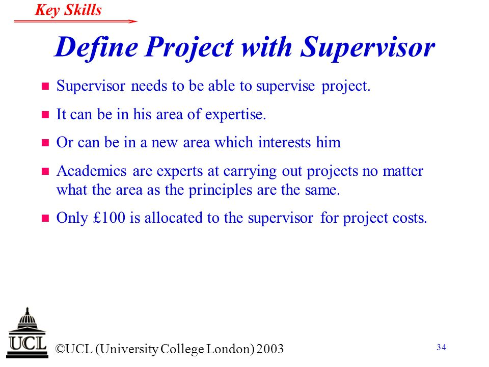 Define Project with Supervisor