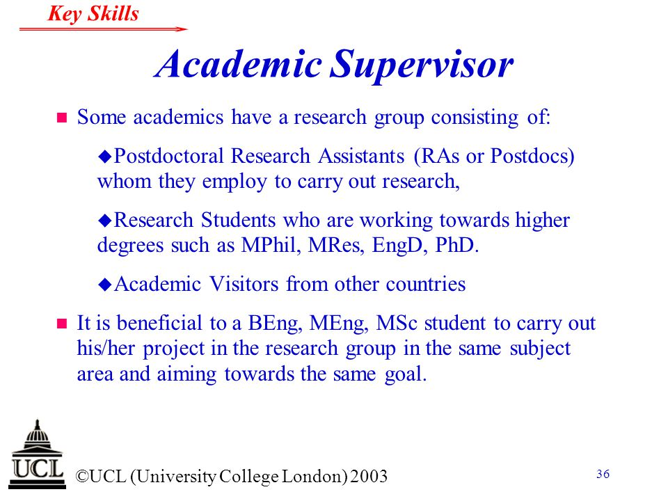 Academic Supervisor Some academics have a research group consisting of: