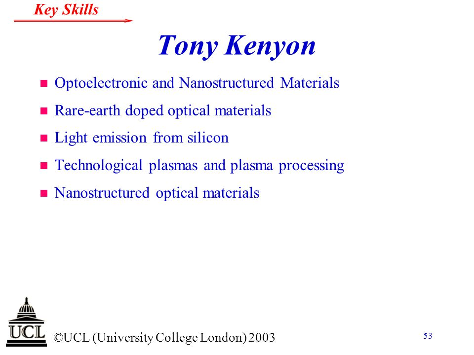 Tony Kenyon Optoelectronic and Nanostructured Materials