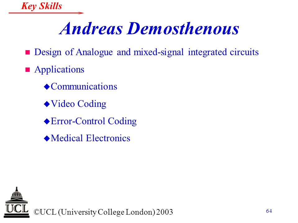 Andreas Demosthenous Design of Analogue and mixed-signal integrated circuits. Applications. Communications.