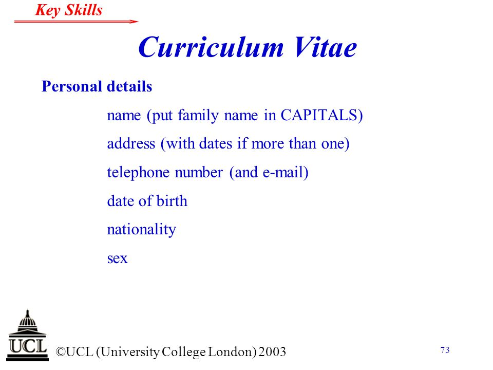 Curriculum Vitae Personal details name (put family name in CAPITALS)