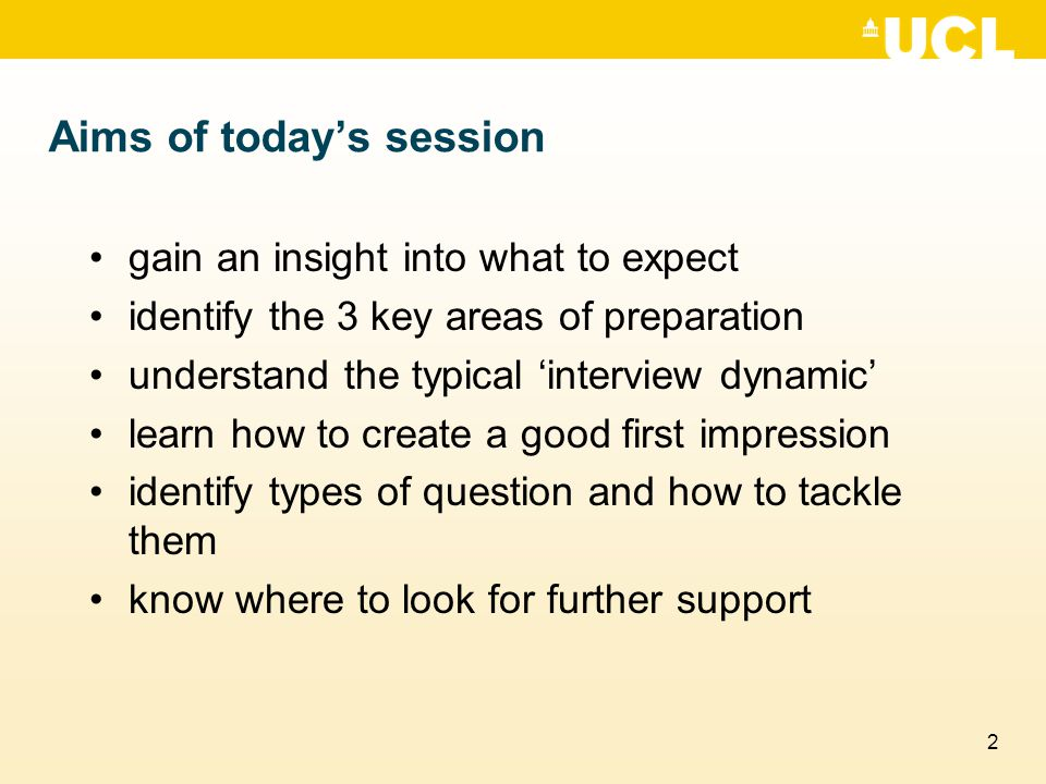 Aims of today's session