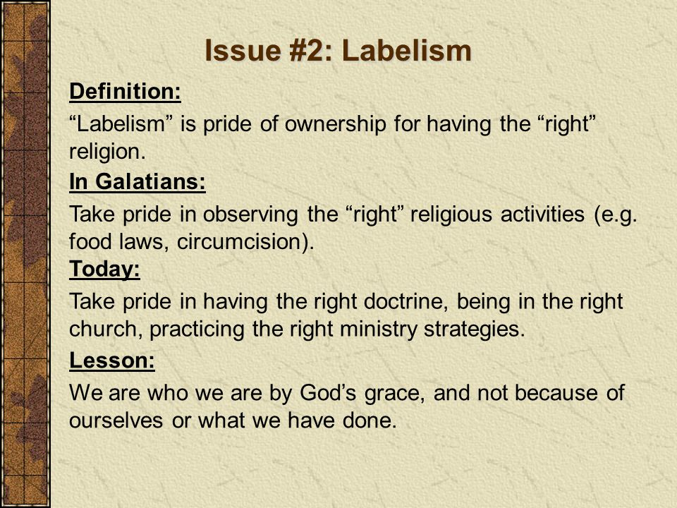Issue #2: Labelism Definition: