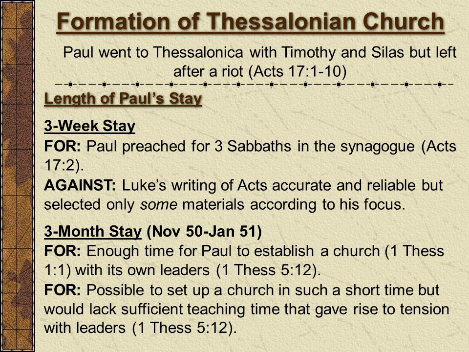 Formation of Thessalonian Church