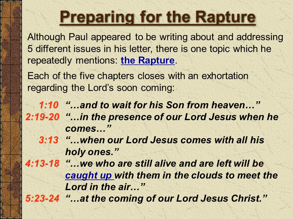 Preparing for the Rapture