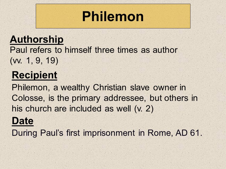 Philemon Authorship Recipient Date