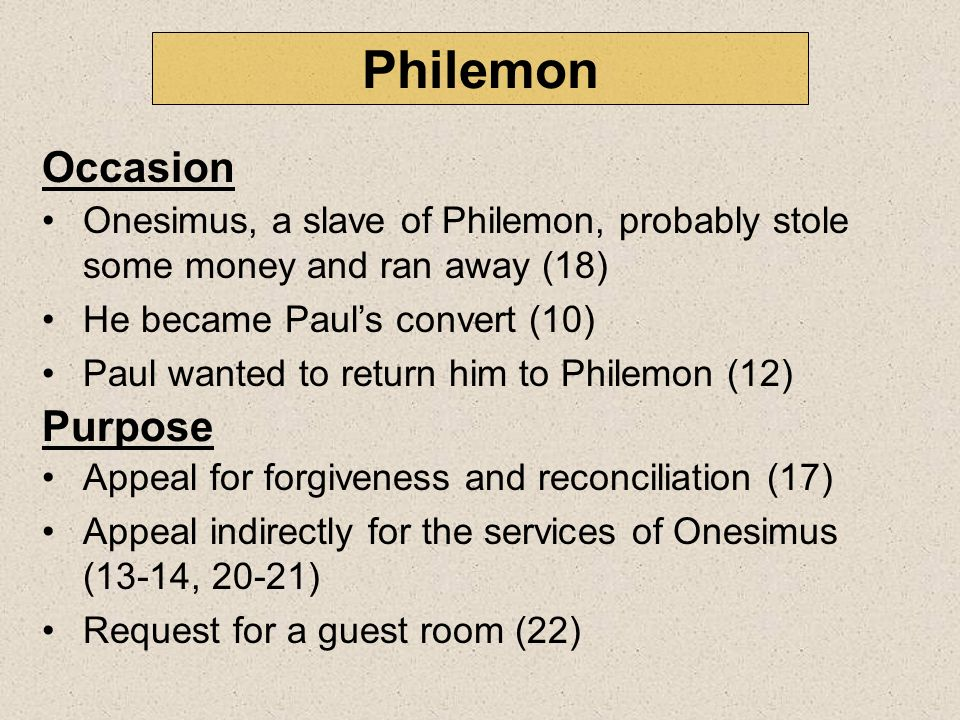 Philemon Occasion Purpose