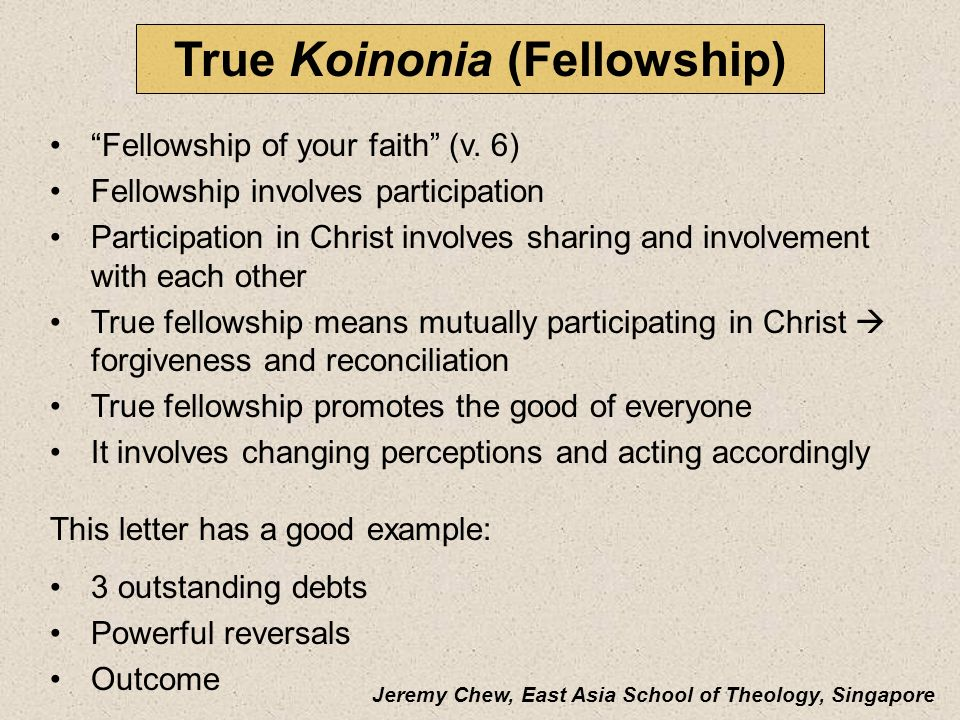 True Koinonia (Fellowship)
