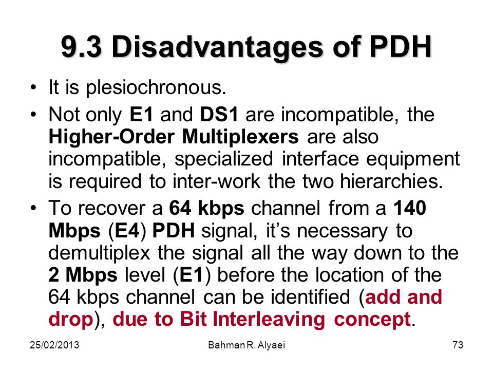 9.3 Disadvantages of PDH It is plesiochronous.