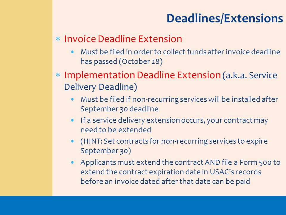Deadlines/Extensions