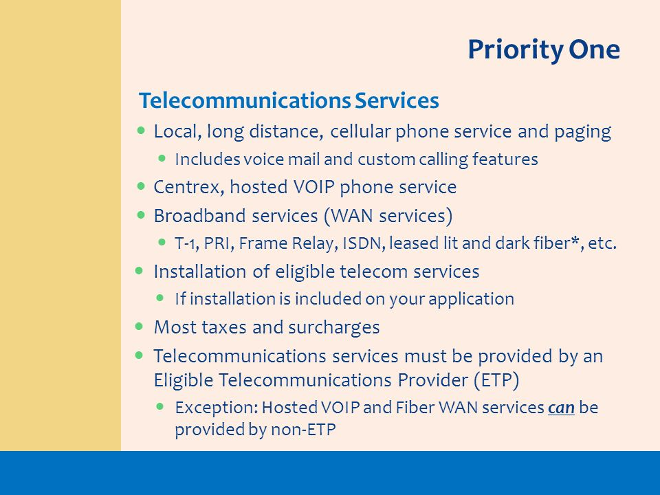 Priority One Telecommunications Services